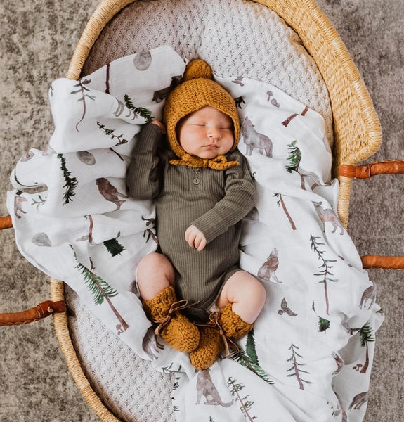 Snuggle Hunny Heirloom Wool Bonnet and Bootie Set in Bronze colour.
