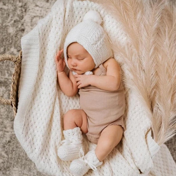 Snuggle Hunny Heirloom Wool Bonnet and Bootie Set in Ivory colour.