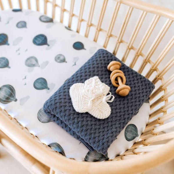 Snuggle Fitted Bassinet & Change Pad Cover - Cloud Chaser - Angus & Dudley Collections