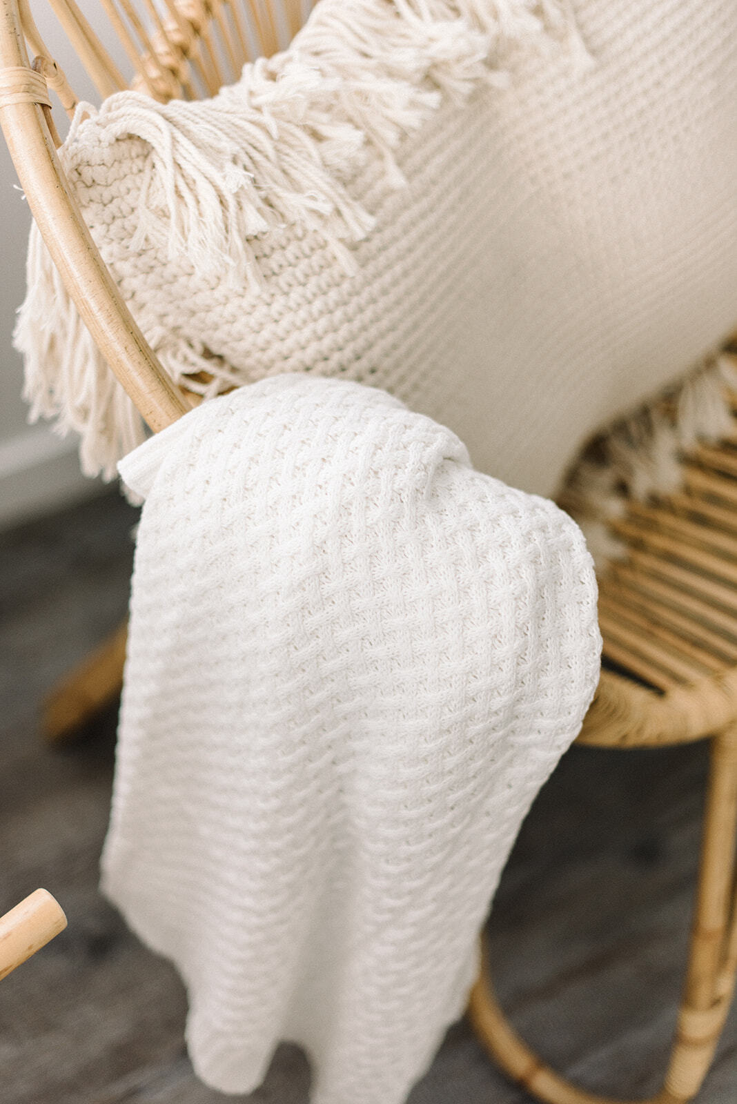 Snuggle Diamond Knit Blanket - Cream - Angus & Dudley Collections