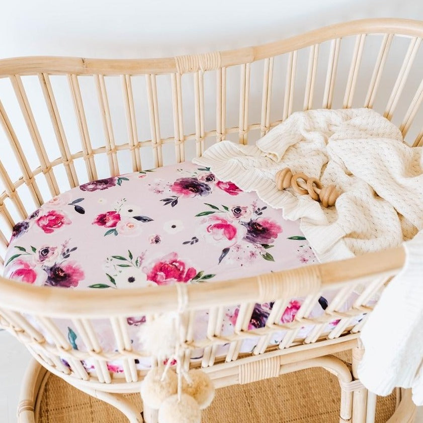 Snuggle Fitted Bassinet & Change Pad Cover - Floral Kiss - Angus & Dudley Collections