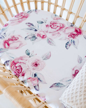 Snuggle Fitted Bassinet & Change Pad Cover - Lilac Skies - Angus & Dudley Collections
