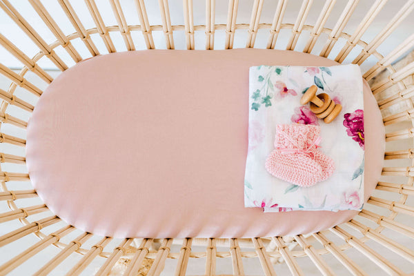 Snuggle Fitted Bassinet & Change Pad Cover - Lullaby Pink