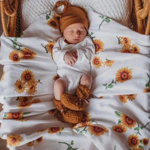 Snuggle Organic Cotton Muslin Wrap - Sunflower - Angus & Dudley Collections