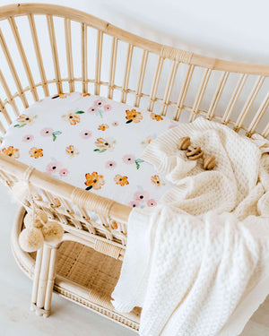 Snuggle Fitted Bassinet & Change Pad Cover - Poppy - Angus & Dudley Collections