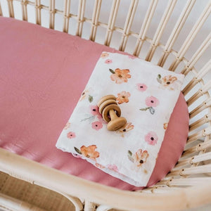 Snuggle Fitted Bassinet & Change Pad Cover - Rouge Pink - Angus & Dudley Collections