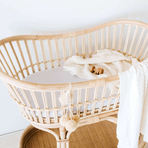Snuggle Fitted Bassinet & Change Pad Cover - Stone - Angus & Dudley Collections