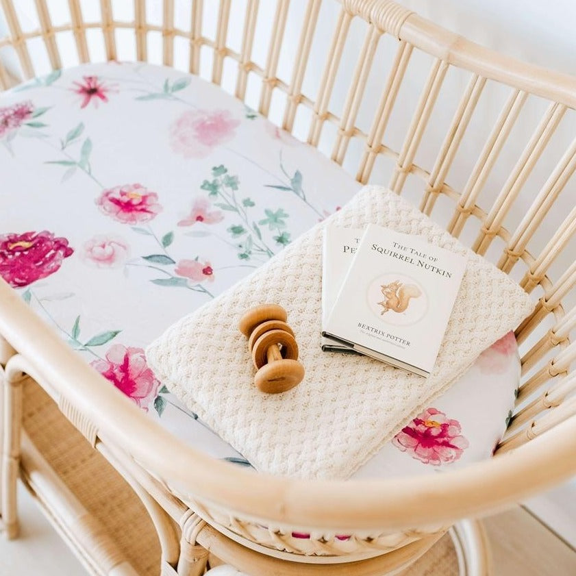 Snuggle Fitted Bassinet & Change Pad Cover - Wanderlust - Angus & Dudley Collections