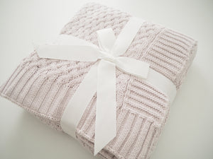 Snuggle Diamond Knit Blanket - Warm Grey - Angus & Dudley Collections