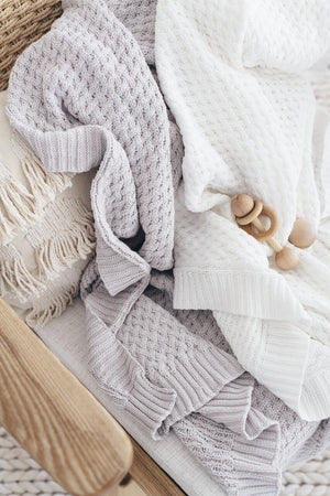 Snuggle Diamond Knit Blanket - White - Angus & Dudley Collections