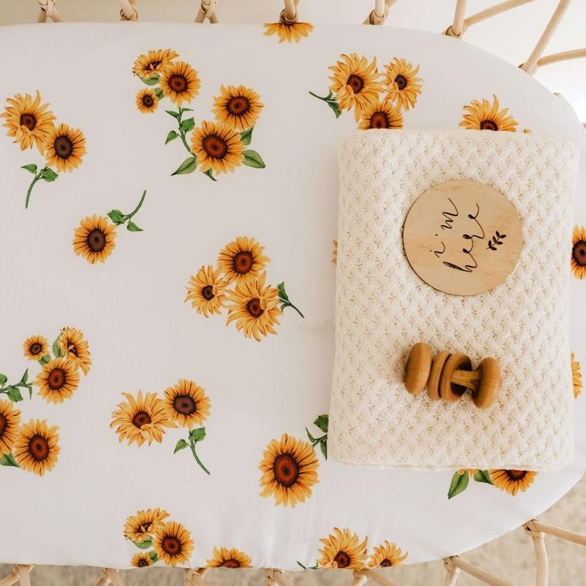 Snuggle Hunny Kids Organic Cotton Fitted Bassinet sheet - Sunflower
