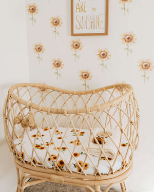 Snuggle Hunny Kids Fitted Bassinet & Change Pad Cover - Sunflower