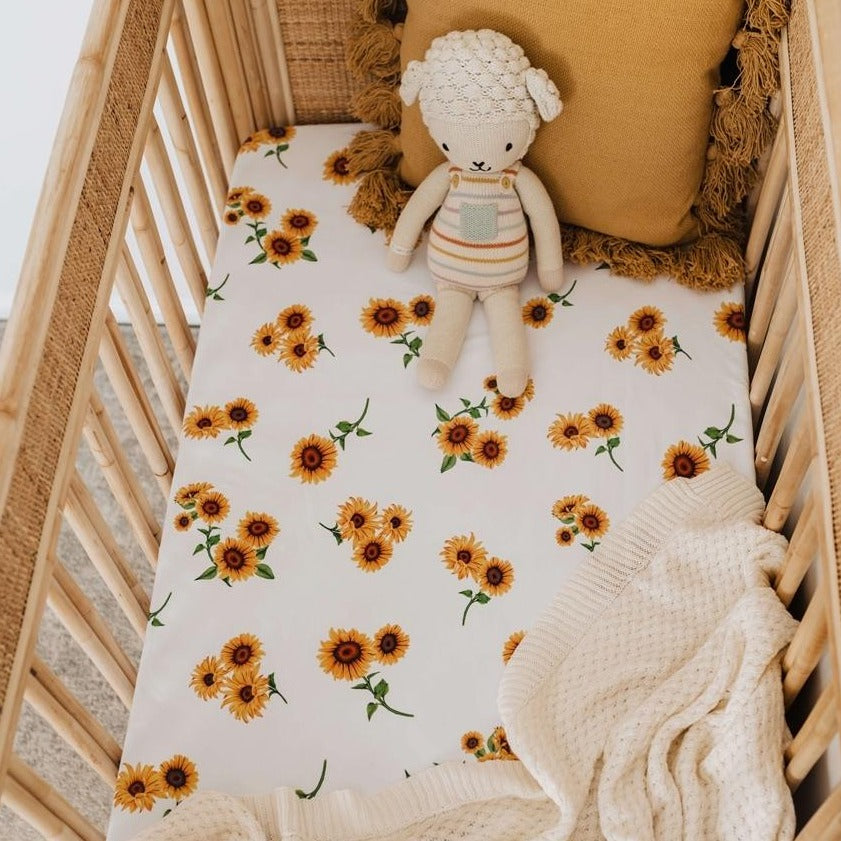 snuggle hunny kids fitted cotton cot sheet - Sunflower