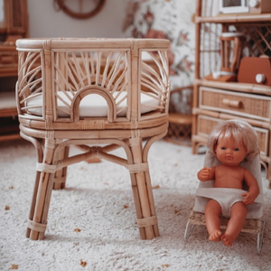 Tiny Harlow Doll's Rattan Sunrise Bassinet. Toy Cot. Angus & Dudley collections