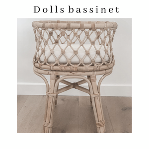 Doll's Rattan Bassinet - Standard Size - Angus & Dudley Collections