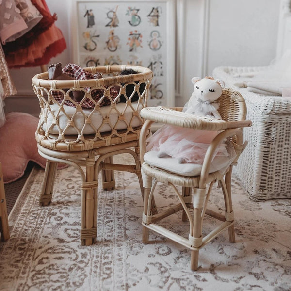 Tiny Harlow Rattan Doll's High chair