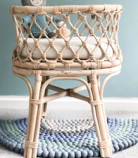 Tiny Harlow Doll's Rattan Bassinet - Angus & Dudley Collections