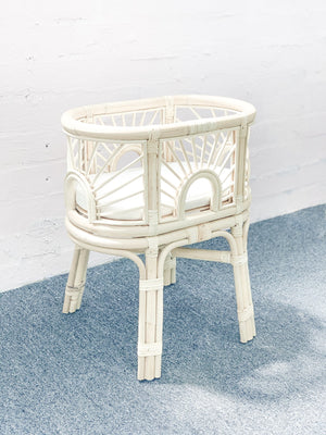 Tiny Harlow Doll's Sunrise Rattan Bassinet