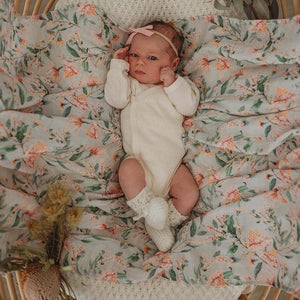 Snuggle Hunny Organic Cotton Baby Wrap/Swaddle - Wattle -Angus and Dudley Collections