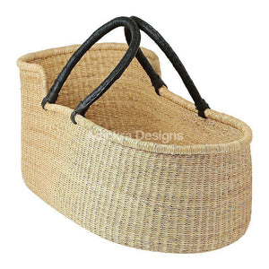 Baby Moses Basket - Natural Black Handles
