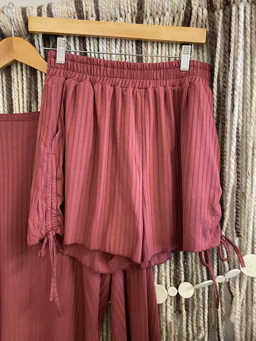Ruched Shorts- Red Clay