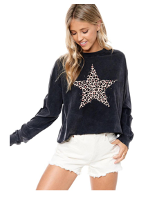 Leopard Star Cropped Top