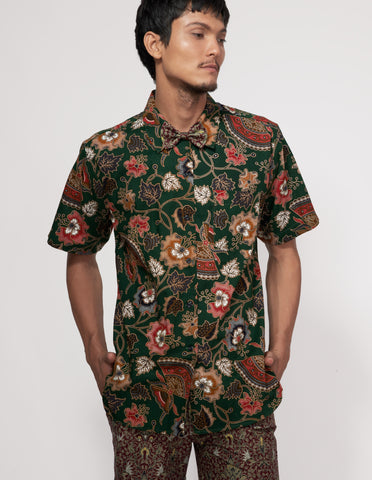 Mr Prints Mens Sammy Short n Sweet Batik Deep Forest