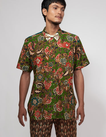 Mr Prints Mens Sammy Short n Sweet Batik Green with envy