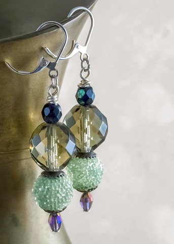 Smoky Quartz Earrings w/ Vintage Japanese Sugar Beads, Sterling & Swarovski Crystal