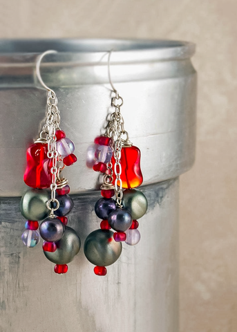 Bohemian Freshwater Pearl Cluster Earrings w/ Glass, Vintage Lucite & Sterling Silver Chain