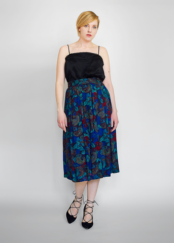 Vintage 80s Dark Floral Skirt | 1980s High Waist Pleated Paisley Midi Skirt (M)