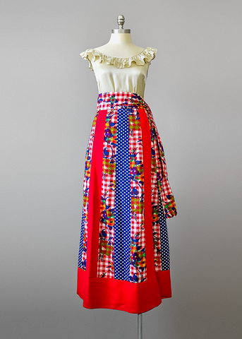 Vintage 70s Chessa Davis Skirt | 1970s Mixed Print A Line Maxi Skirt with Belt (One Size)