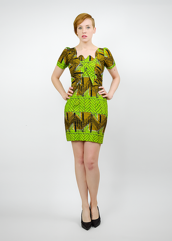Vintage 80s African Mini Dress | 1980s Tribal Print Cotton Batik Dress (S)