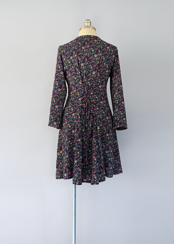 Vintage 90s Corset Dress | 1990s Plum and Navy Floral Print Mini Dress (XS/S)