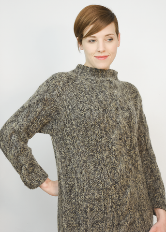 Vintage Handknit Mohair Sweater | Liz Claiborne Cable Knit Fisherman Sweater (S/M)