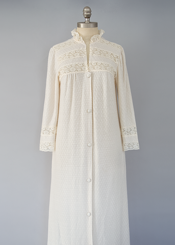 Vintage 60s Peignoir Robe | 1960s Alice Maloof Cream Knit Dressing Gown (M)