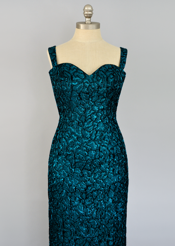 Vintage 80s Cocktail Dress | 1980s Blue Metallic Brocade Wiggle Dress (XS/S)