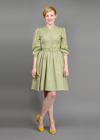 Vintage 60s Day Dress | 1960s Khaki Cotton Circle Skirt Shirtwaist Dress (S/M)