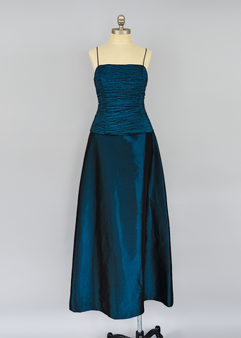Vintage 90s Prom Dress | 1990s Long Fit and Flare Teal Taffeta Evening Gown (M)