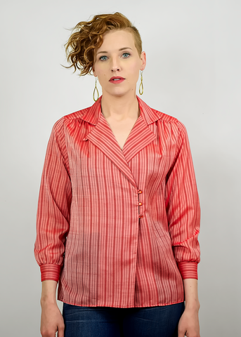 Vintage 70s Red Blouse | 1970s Sheer Striped Organza Side Button Wrap Blouse (S/M)
