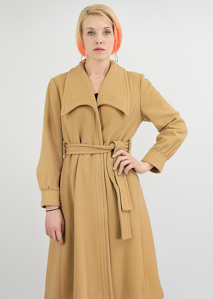 Vintage 1970s Camel Coat | 70s Does 1940s Tan Wool Wrap Coat with Belt