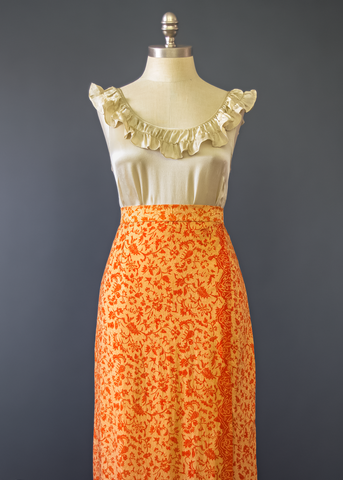 Vintage 60s Ethnic Wrap Skirt | 1960s Orange Floral Indian Silk Maxi Skirt (XS/S)
