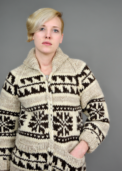 Vintage 70s Chunky Ethnic Sweater | 1970s Hand Knit Wool Cardigan | Fair Isle Beige and Brown | Womens Size S Small Medium M | Red Plume Vintage Clothing