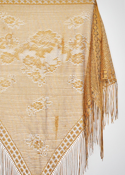 Vintage 70s Piano Shawl | 1970s Metallic Gold Lurex Scarf with Fringe