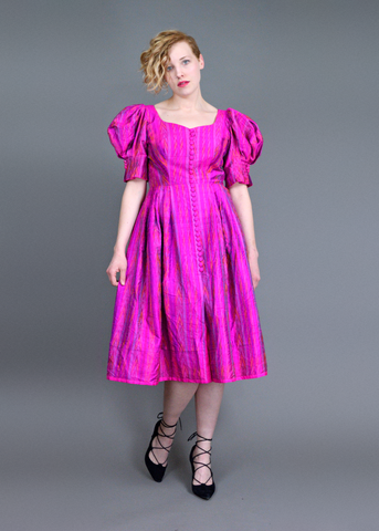 Vintage 80s Silk Party Dress | 1940s Style Ikat Print Magenta Puff Sleeve Dress | Fit and Flare Full Skirt Formal Dress | Womens Size Medium Med M | Red Plume Vintage Clothing