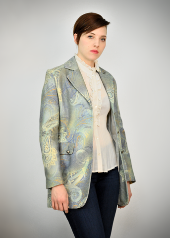 Womens 90s Blue Paisley Blazer | 1990s Cotton Wool Suit Jacket (M)