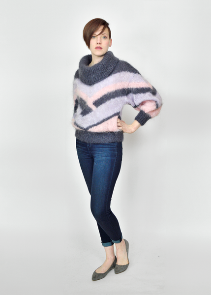 Vintage 1980s Hand Knit Chevron Striped Cowl Neck Mohair Sweater - M