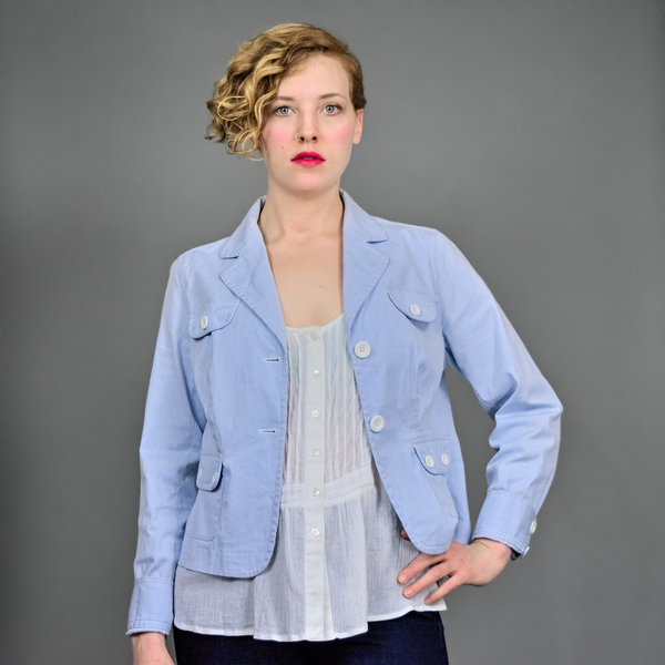 90s Striped Cotton Jacket | 1990s Blue and White Pinstripe Cotton Blazer M/L