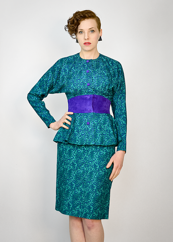 Vintage 80s Silk Dress | 1980s St Gillian Violet Suede Trim Teal Peplum Dress Suit (S)