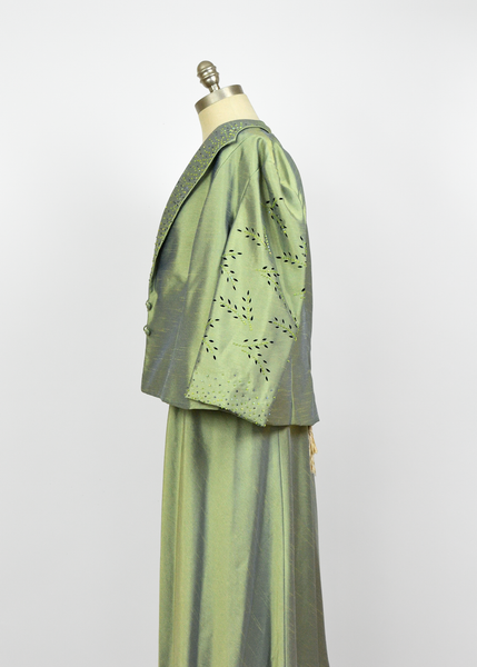 Vintage 1990s Evening Dress | 50s Style Sage Sharkskin Beaded Dress & Jacket Set L/XL